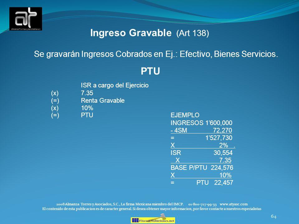 Ingreso Gravable (Art 138)