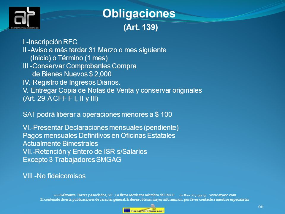 Obligaciones (Art. 139) I.-Inscripción RFC.