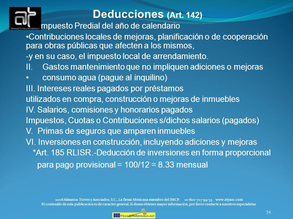Deducciones (Art. 142) I. Impuesto Predial del año de calendario