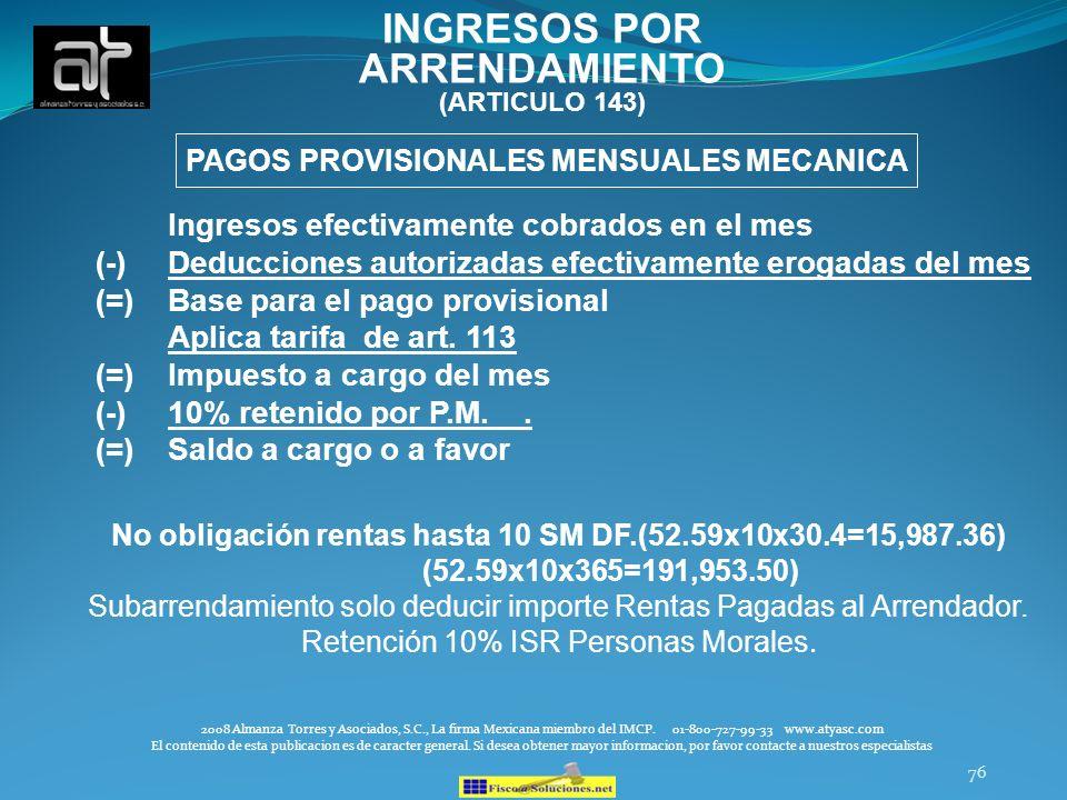 INGRESOS POR ARRENDAMIENTO (ARTICULO 143)
