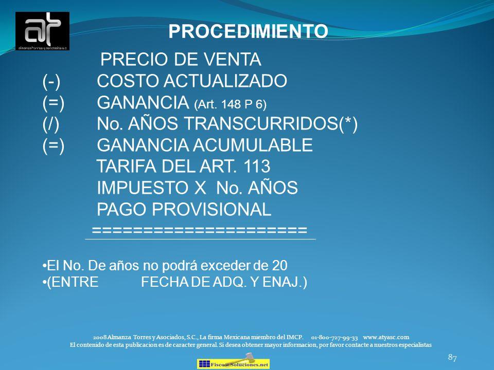 PROCEDIMIENTO PRECIO DE VENTA (-) COSTO ACTUALIZADO