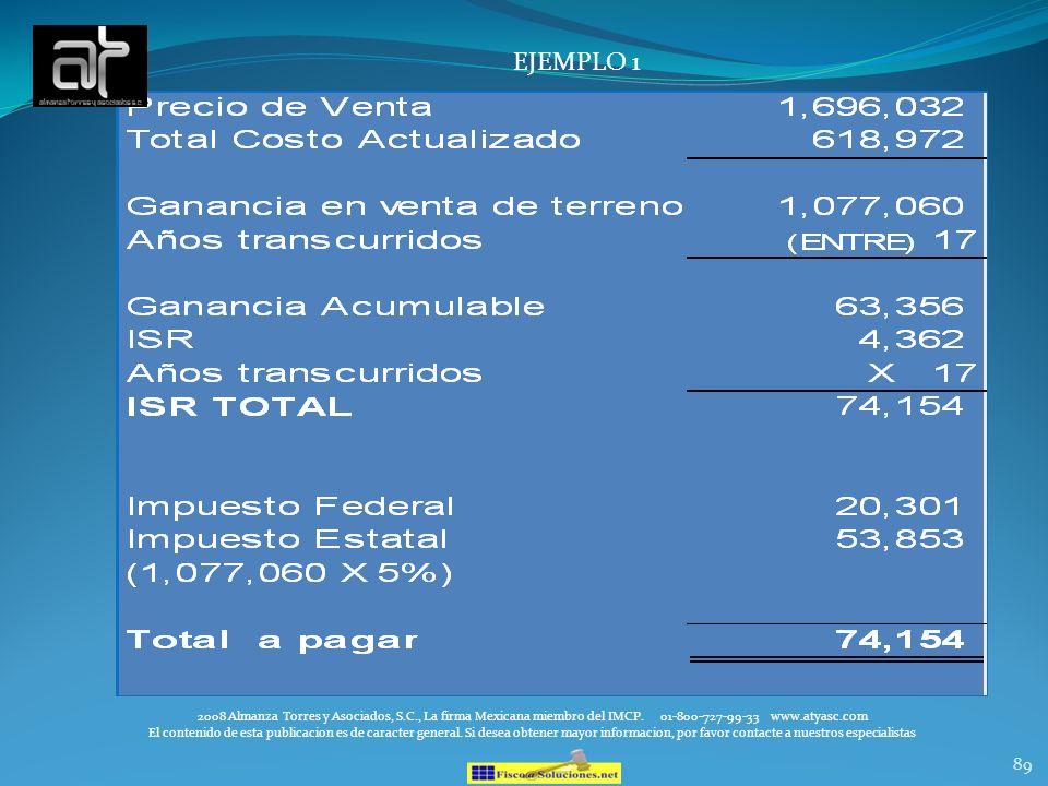 EJEMPLO 12008 Almanza Torres y Asociados, S.C., La firma Mexicana miembro del IMCP. 01-800-727-99-33 www.atyasc.com.