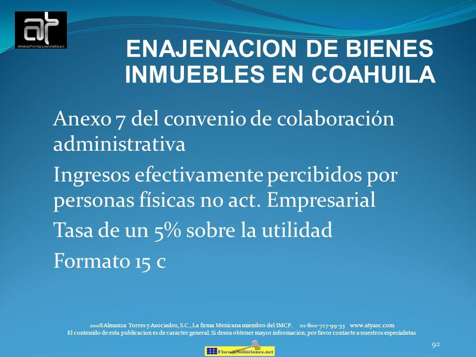 ENAJENACION DE BIENES INMUEBLES EN COAHUILA