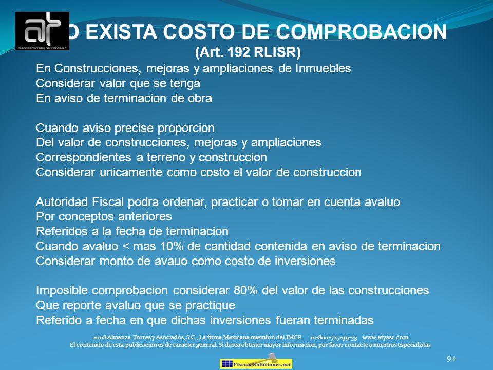NO EXISTA COSTO DE COMPROBACION (Art. 192 RLISR)