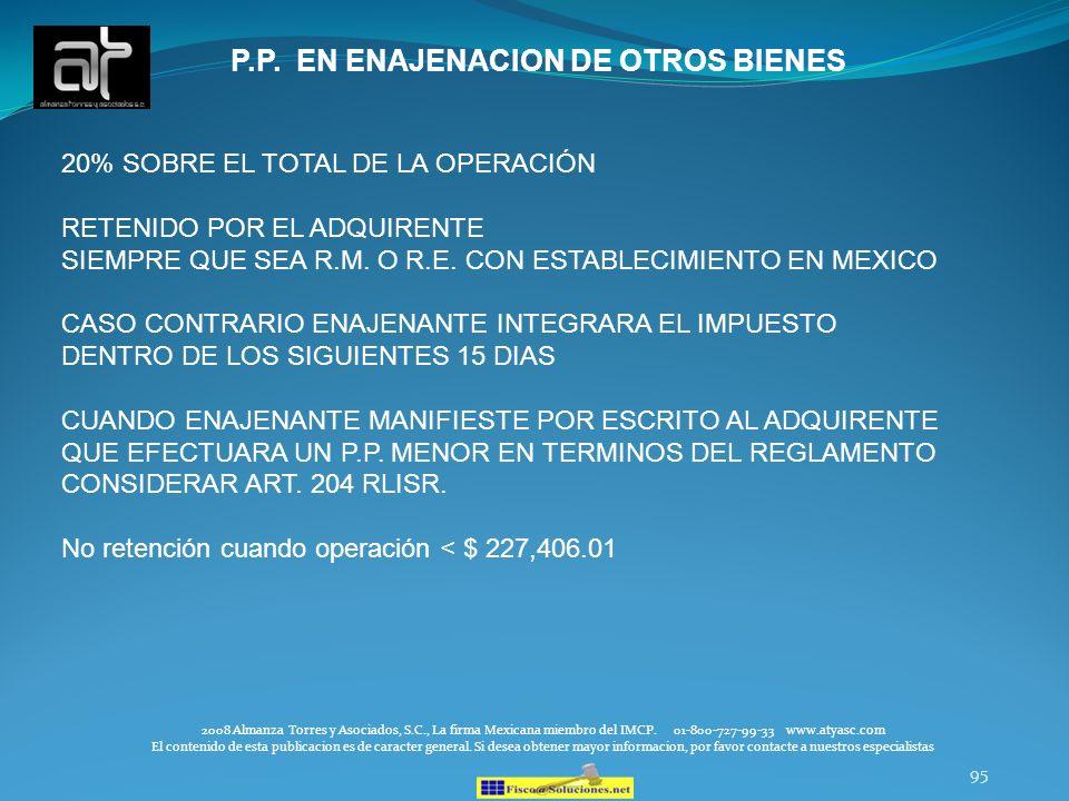 P.P. EN ENAJENACION DE OTROS BIENES