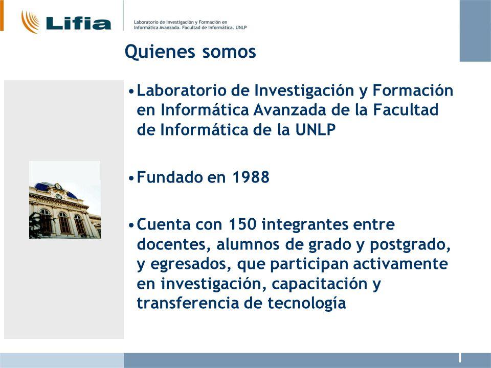 Quienes somos Laboratorio de Investigación y Formación en Informática Avanzada de la Facultad de Informática de la UNLP.