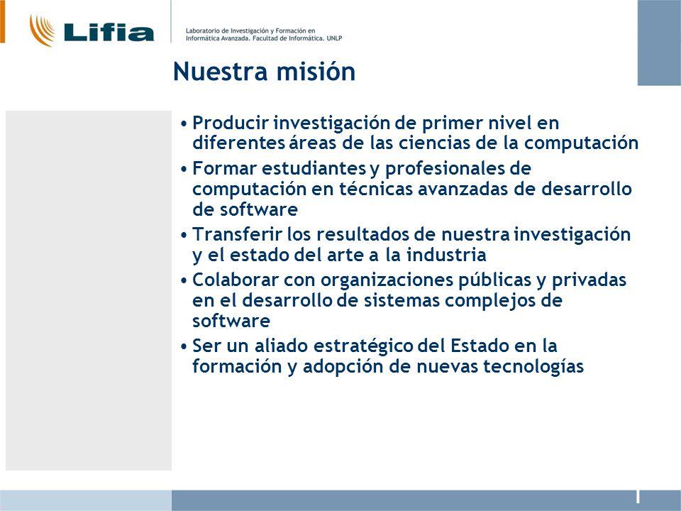 Nuestra misión Producir investigación de primer nivel en diferentes áreas de las ciencias de la computación.