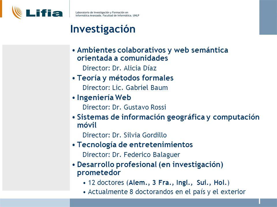 Investigación Ambientes colaborativos y web semántica orientada a comunidades. Director: Dr. Alicia Díaz.