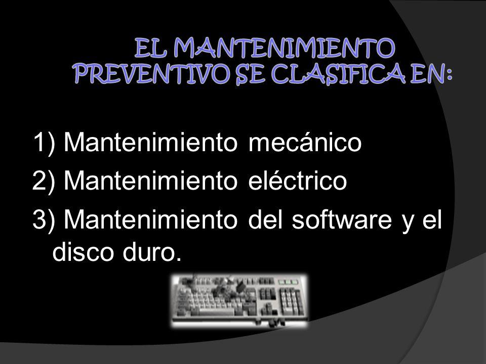 EL MANTENIMIENTO PREVENTIVO SE CLASIFICA EN: