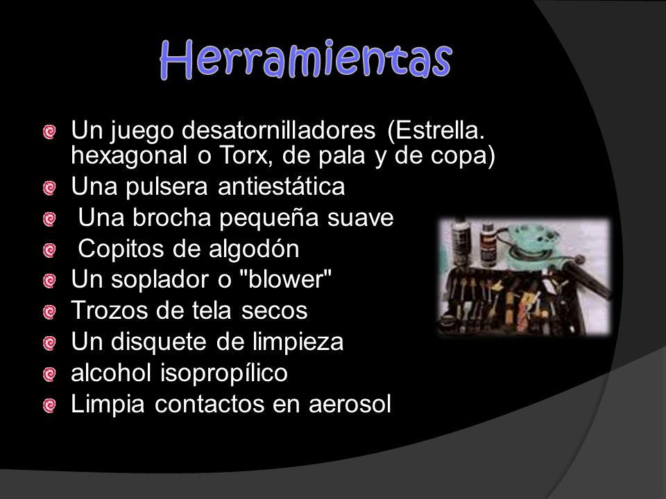 Herramientas Un juego desatornilladores (Estrella. hexagonal o Torx, de pala y de copa) Una pulsera antiestática.