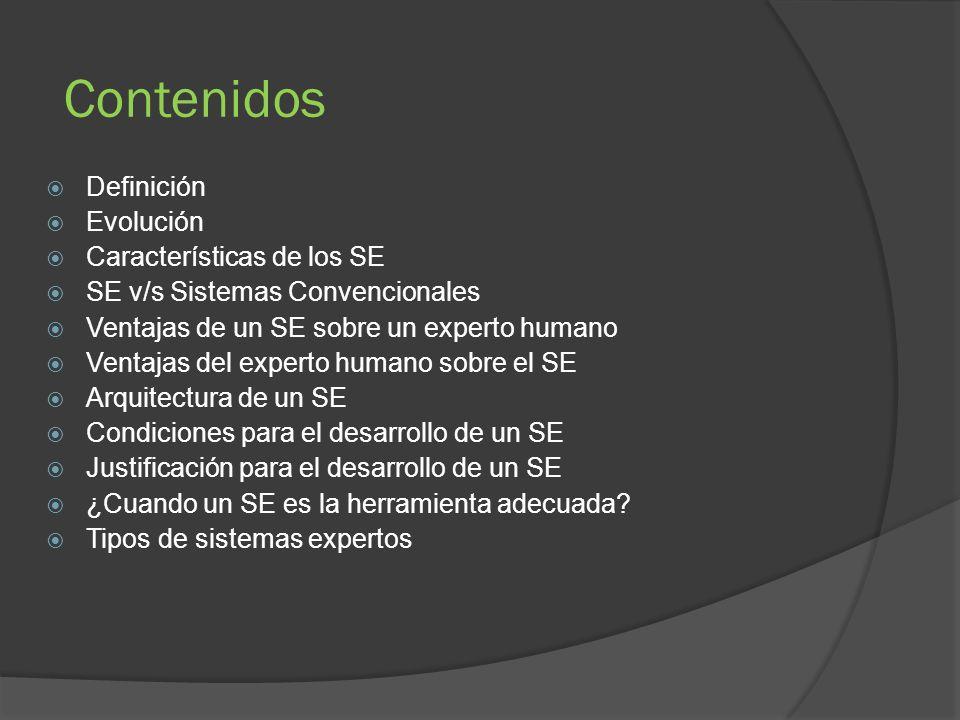 Contenidos Definición Evolución Características de los SE