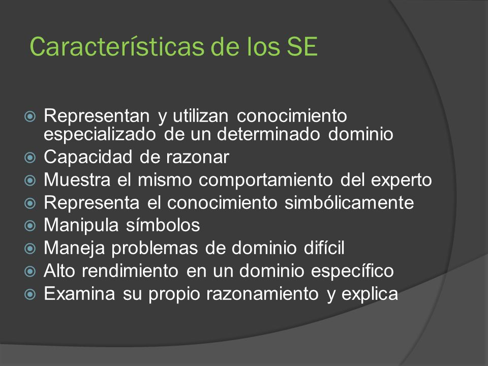 Características de los SE