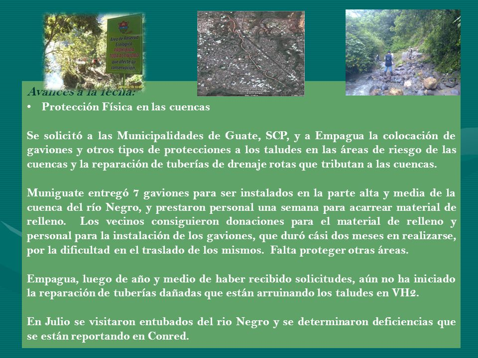 Avances a la fecha: Protección Física en las cuencas
