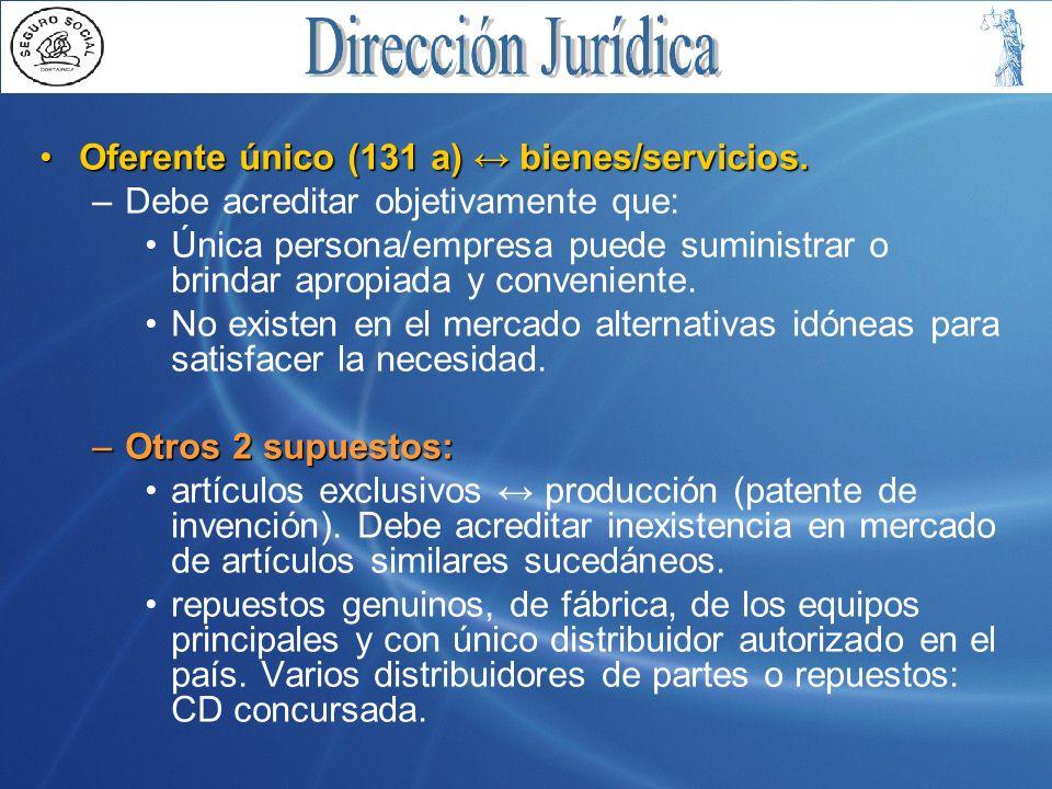 Oferente único (131 a) ↔ bienes/servicios.