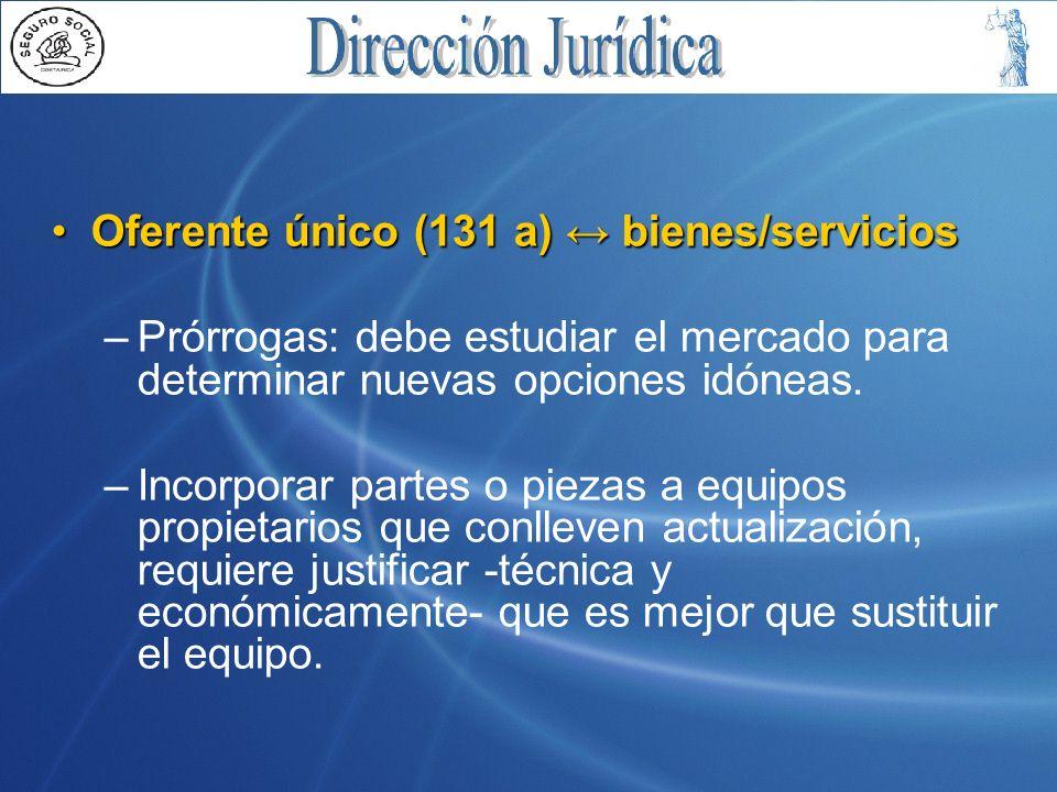 Oferente único (131 a) ↔ bienes/servicios
