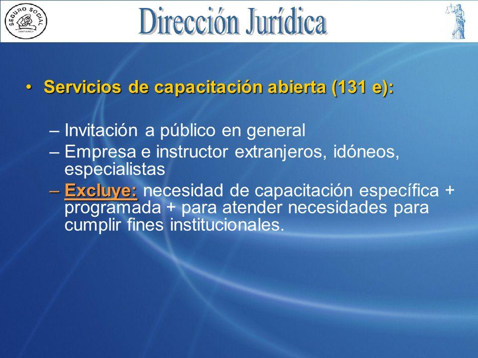 Servicios de capacitación abierta (131 e):