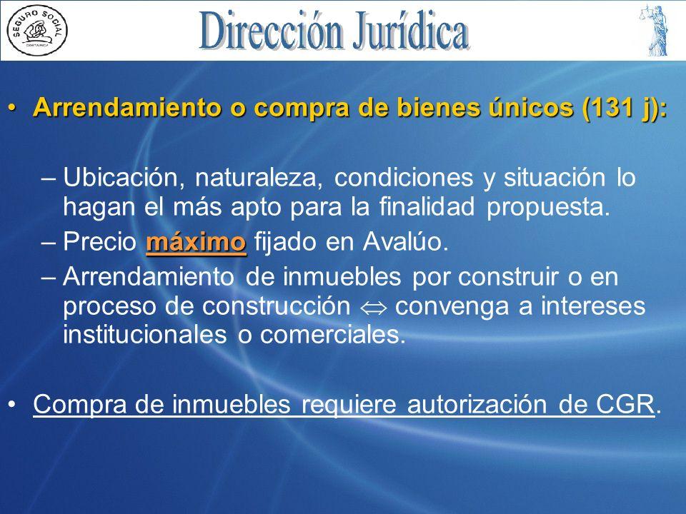 Arrendamiento o compra de bienes únicos (131 j):