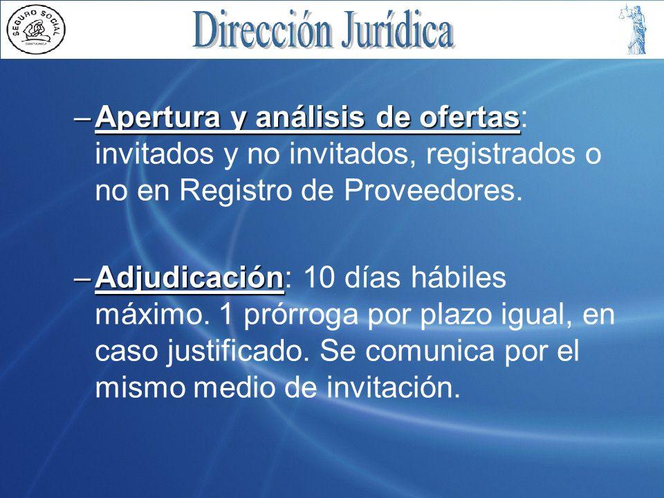 Apertura y análisis de ofertas: invitados y no invitados, registrados o no en Registro de Proveedores.