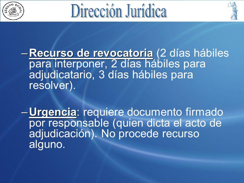 Recurso de revocatoria (2 días hábiles para interponer, 2 días hábiles para adjudicatario, 3 días hábiles para resolver).