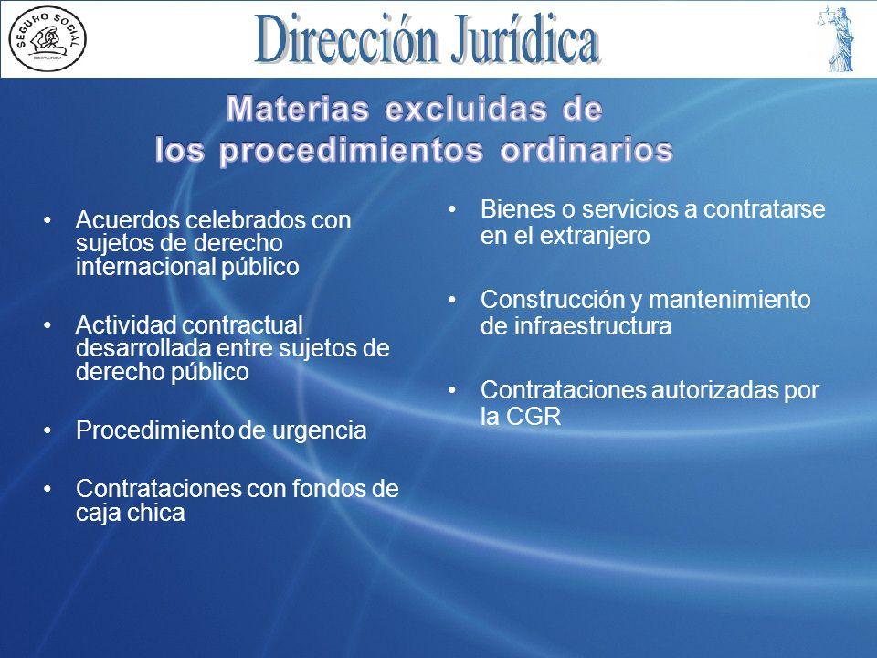 Materias excluidas de los procedimientos ordinarios