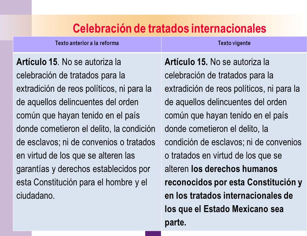 Celebración de tratados internacionales Texto anterior a la reforma