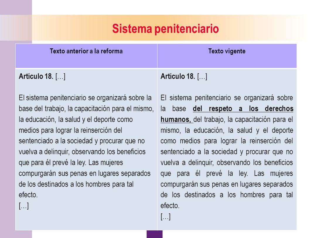 Sistema penitenciario Texto anterior a la reforma