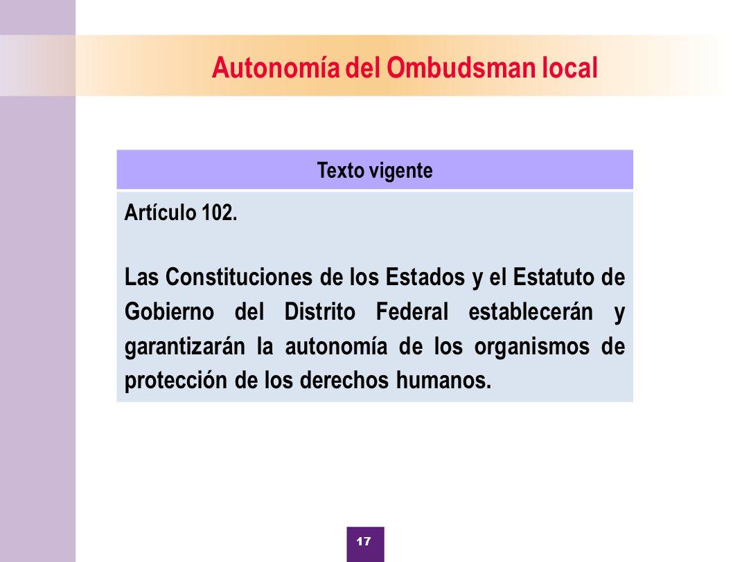 Autonomía del Ombudsman local