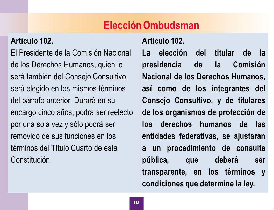 Elección Ombudsman Artículo 102.