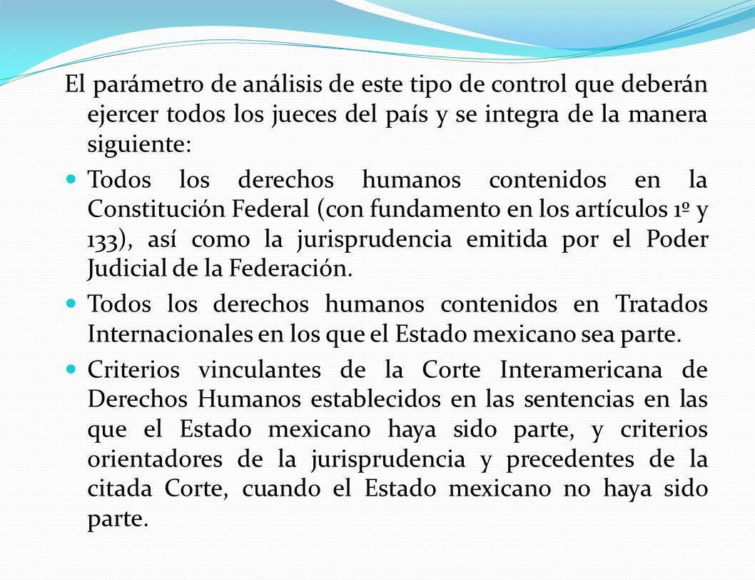 El parámetro de análisis de este tipo de control que deberán ejercer todos los jueces del país y se integra de la manera siguiente: