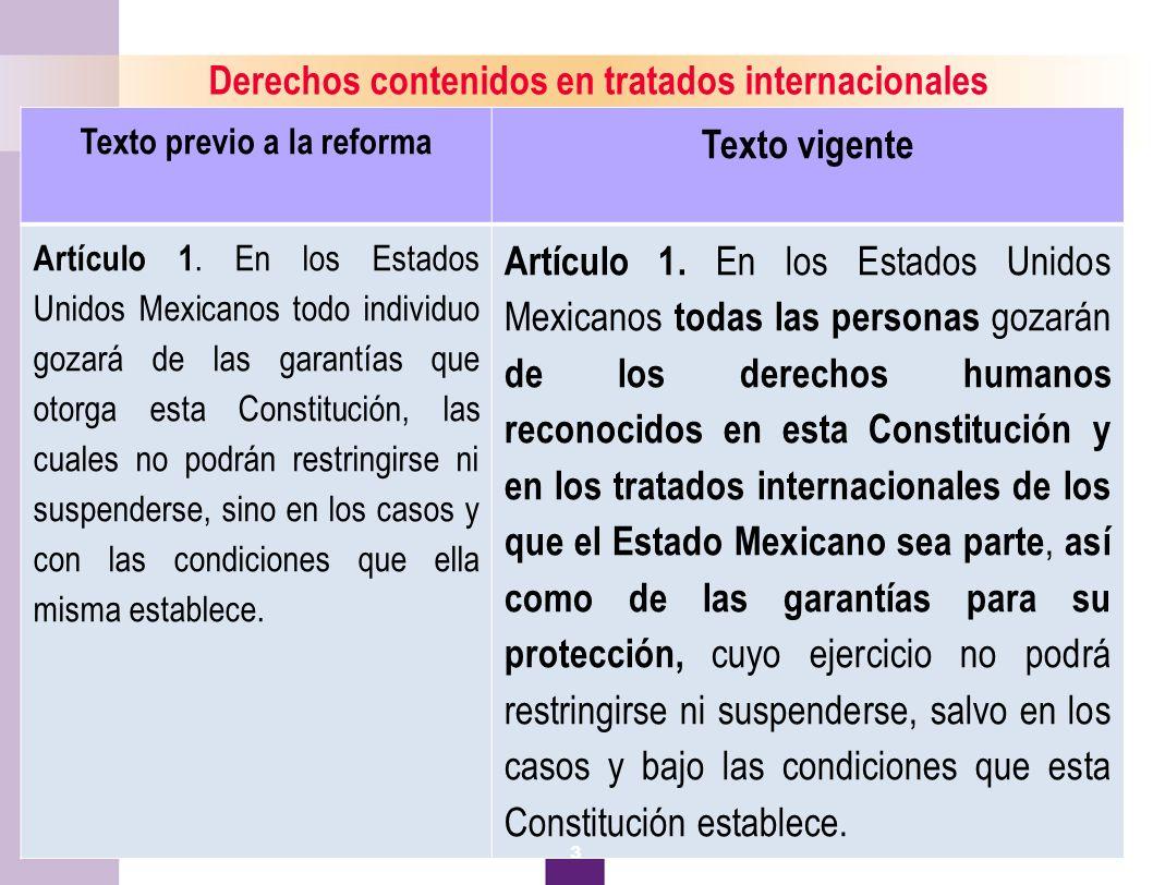 Derechos contenidos en tratados internacionales Texto vigente