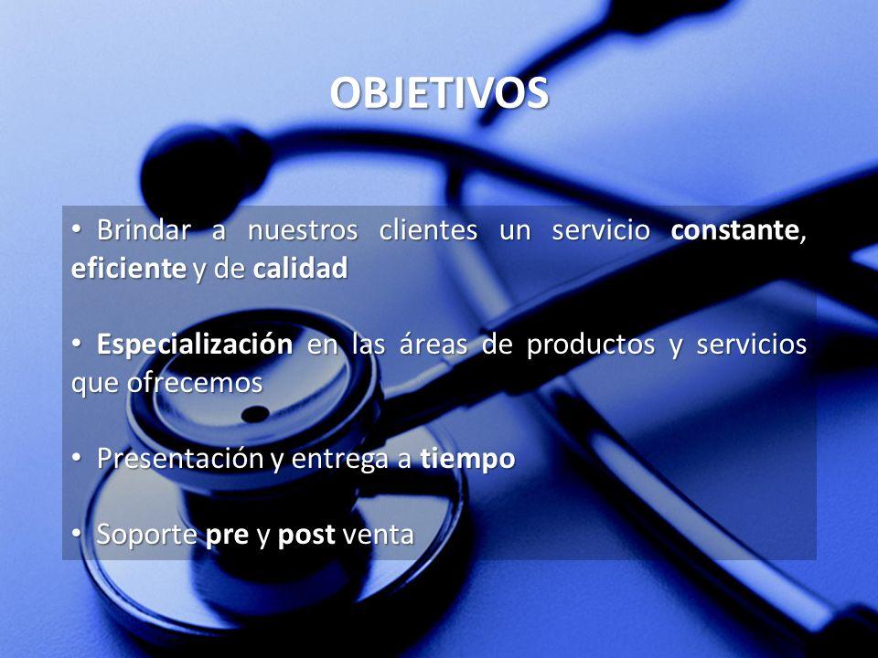 OBJETIVOS Brindar a nuestros clientes un servicio constante, eficiente y de calidad.