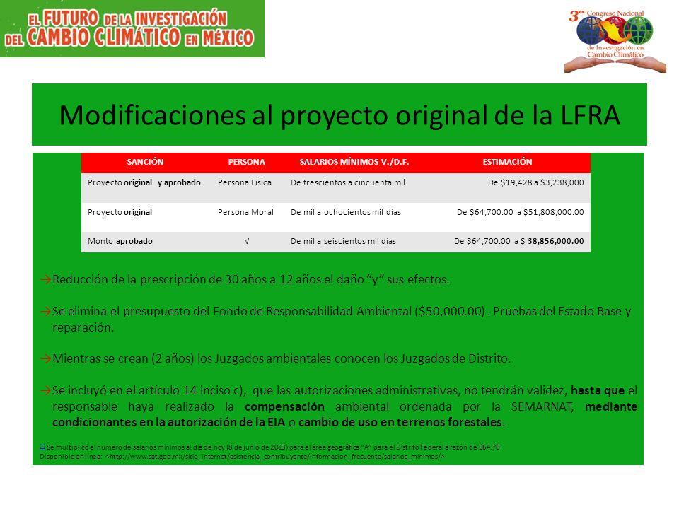 Modificaciones al proyecto original de la LFRA