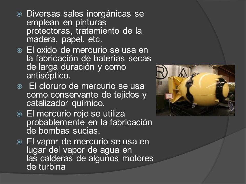 Diversas sales inorgánicas se emplean en pinturas protectoras, tratamiento de la madera, papel. etc.
