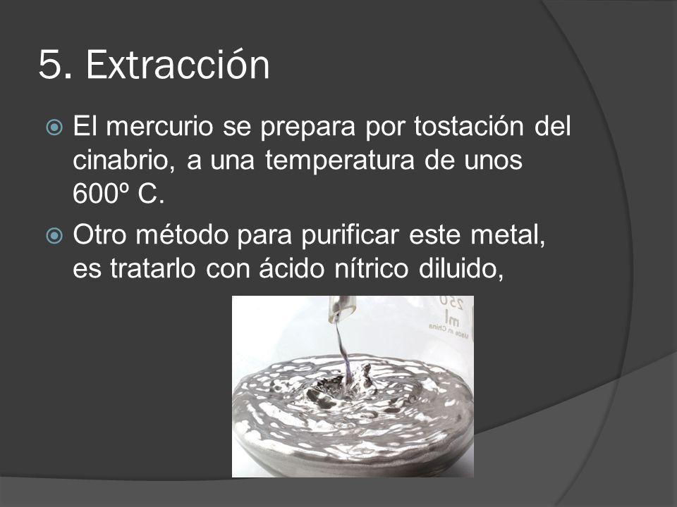 5. ExtracciónEl mercurio se prepara por tostación del cinabrio, a una temperatura de unos 600º C.