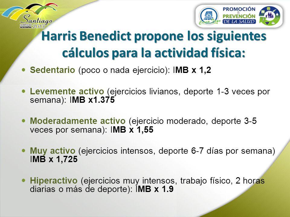 Harris Benedict propone los siguientes cálculos para la actividad física:
