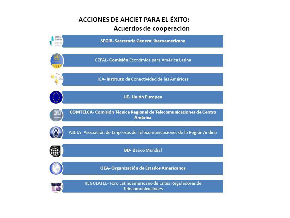 ACCIONES DE AHCIET PARA EL ÉXITO: Acuerdos de cooperación
