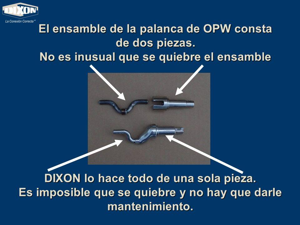 El ensamble de la palanca de OPW consta de dos piezas