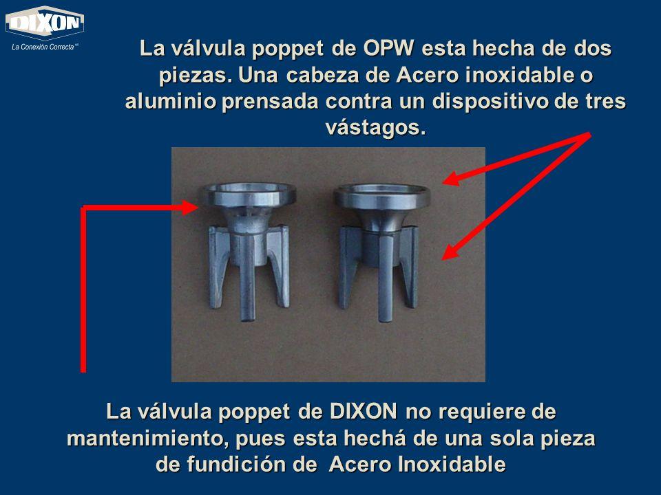 La válvula poppet de OPW esta hecha de dos piezas