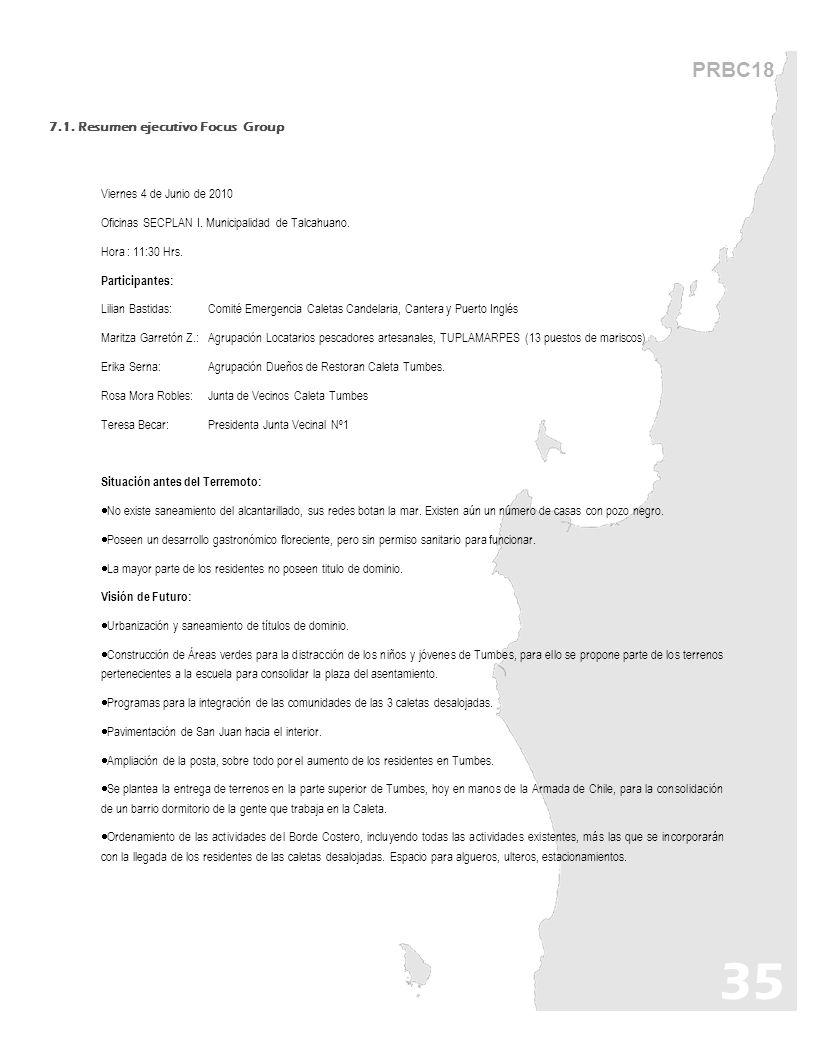 35 PRBC18 7.1. Resumen ejecutivo Focus Group