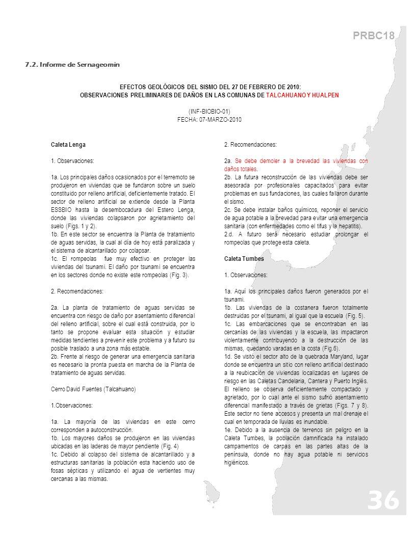 EFECTOS GEOLÓGICOS DEL SISMO DEL 27 DE FEBRERO DE 2010: