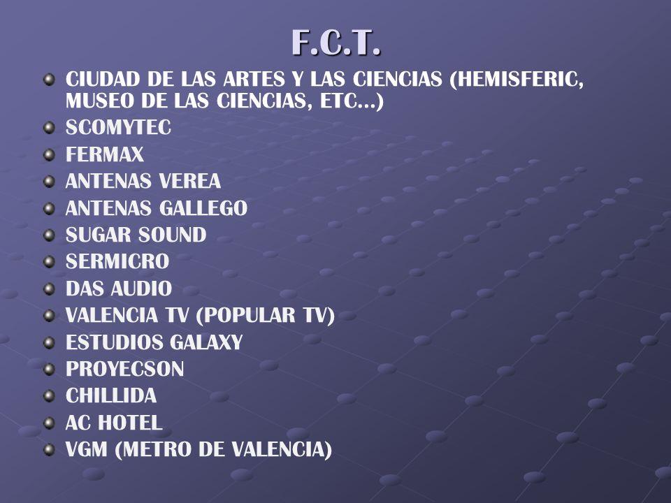 F.C.T. CIUDAD DE LAS ARTES Y LAS CIENCIAS (HEMISFERIC, MUSEO DE LAS CIENCIAS, ETC…) SCOMYTEC. FERMAX.