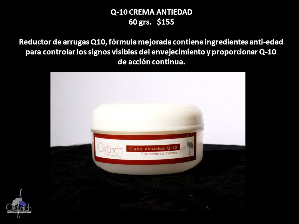 Q-10 CREMA ANTIEDAD 60 grs. $155. Reductor de arrugas Q10, fórmula mejorada contiene ingredientes anti-edad.