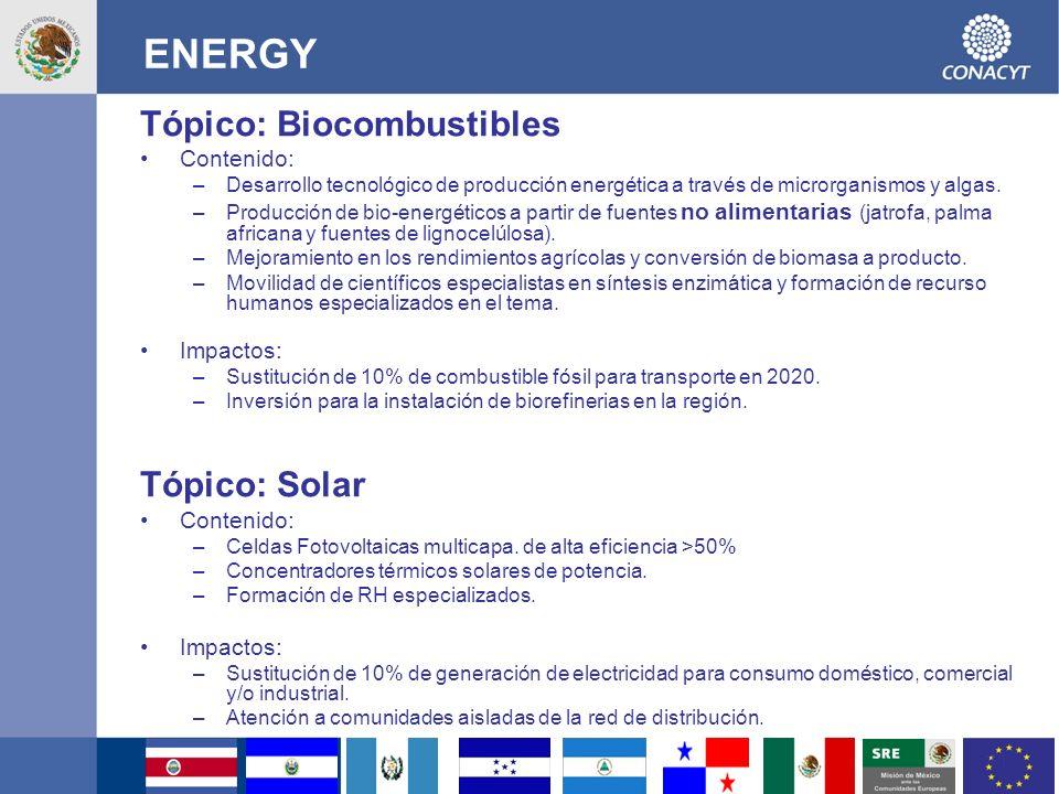 ENERGY Tópico: Biocombustibles Tópico: Solar Contenido: Impactos: