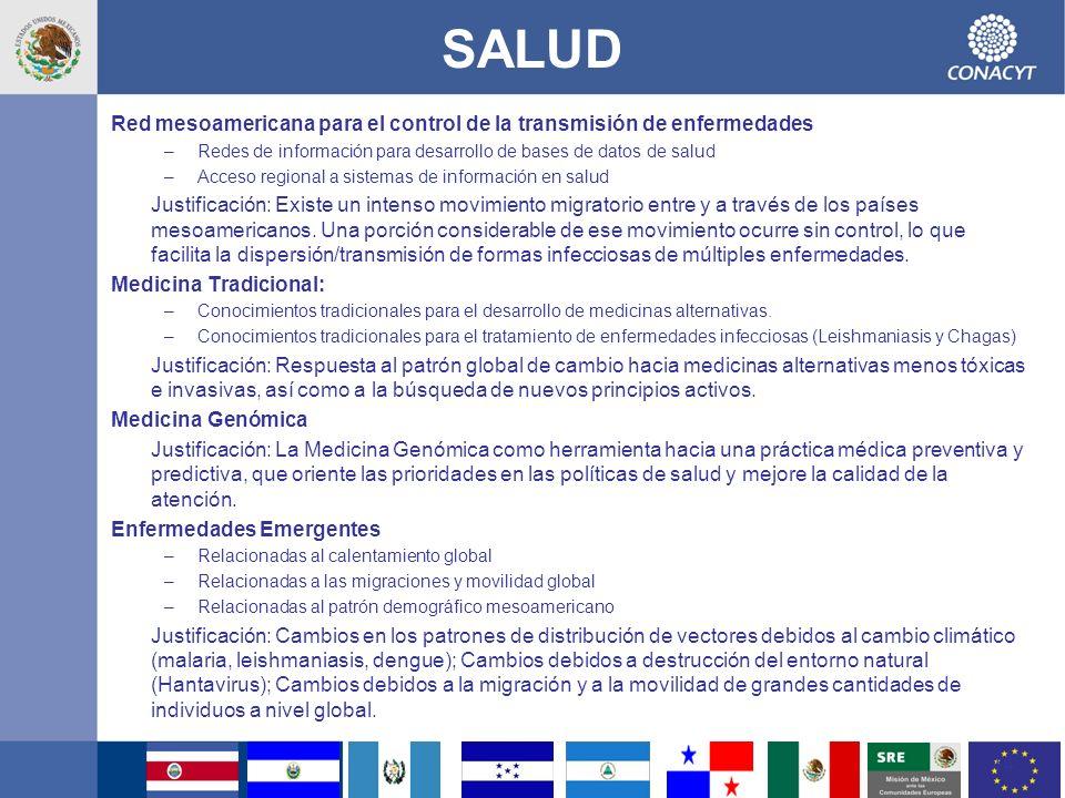 SALUD Red mesoamericana para el control de la transmisión de enfermedades. Redes de información para desarrollo de bases de datos de salud.