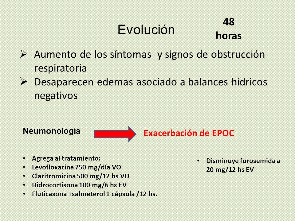 48 horas Evolución. Aumento de los síntomas y signos de obstrucción respiratoria. Desaparecen edemas asociado a balances hídricos negativos.