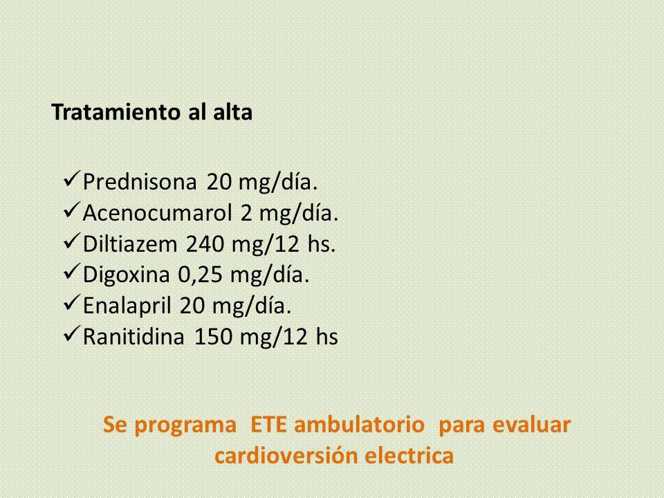 Se programa ETE ambulatorio para evaluar cardioversión electrica