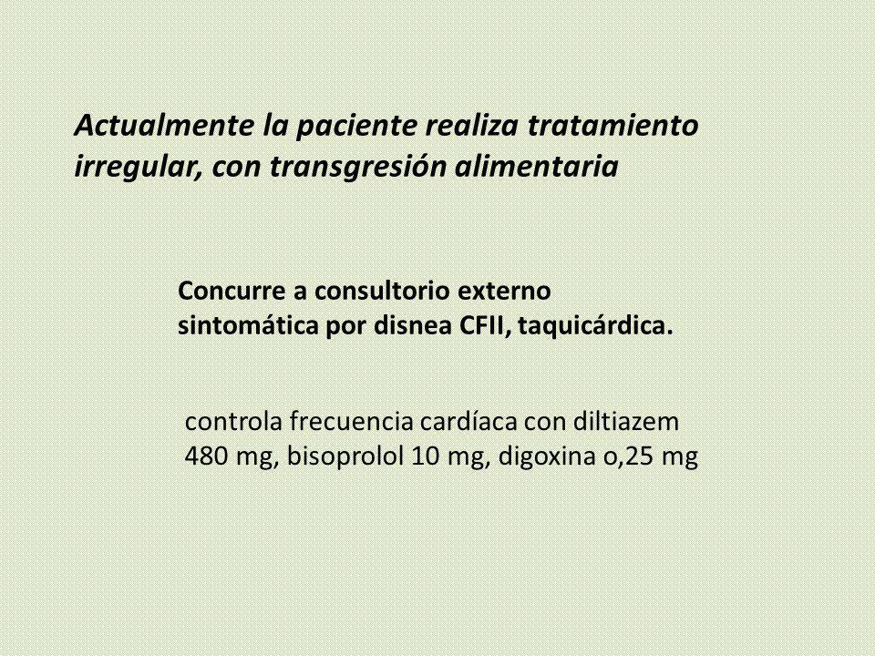 Actualmente la paciente realiza tratamiento irregular, con transgresión alimentaria