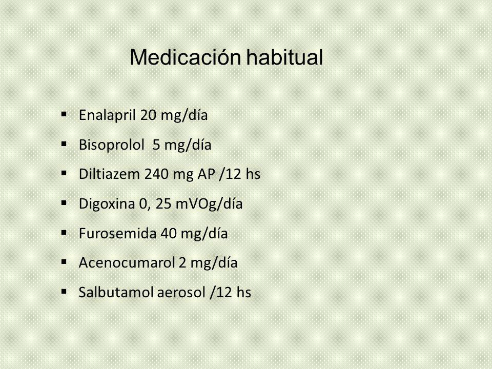 Medicación habitual Enalapril 20 mg/día Bisoprolol 5 mg/día