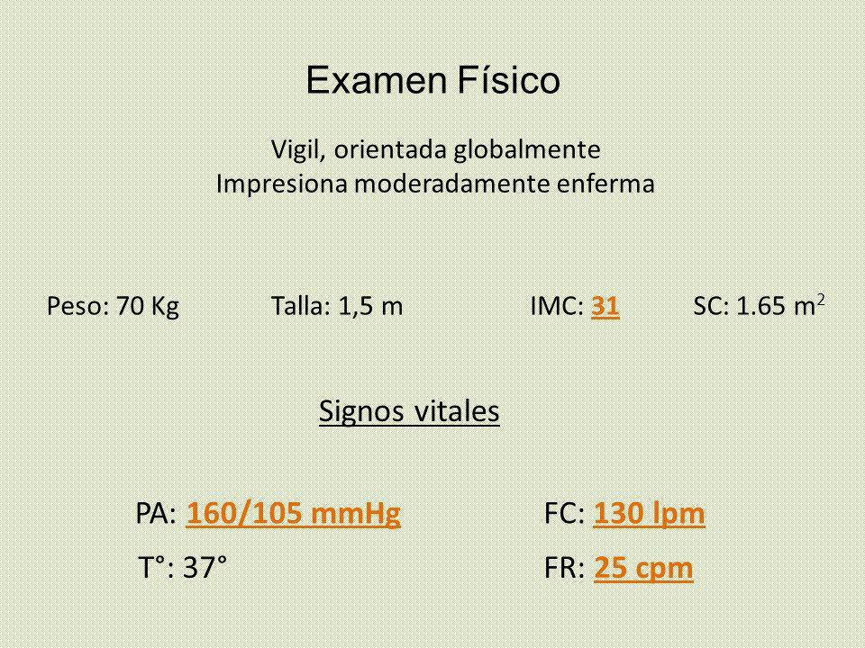Examen Físico Signos vitales PA: 160/105 mmHg FC: 130 lpm T°: 37°