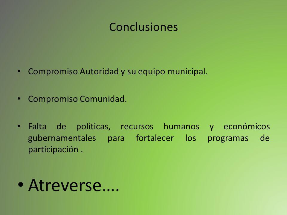 Atreverse…. Conclusiones Compromiso Autoridad y su equipo municipal.